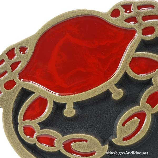 Crab Oval Plaque - Bronze Shown with Optional Painted Crab Detail