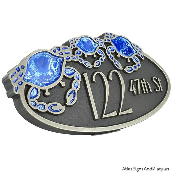 Crab Oval Plaque - Silver Nickel Shown with Optional Painted Crabs