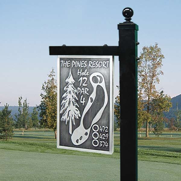 Custom Tee Sign - Pewter on a Post