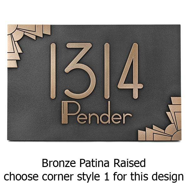 Deco Styling Address Plaque w/Deco Styling Address Plaque w/Corner Options - Bronze Options