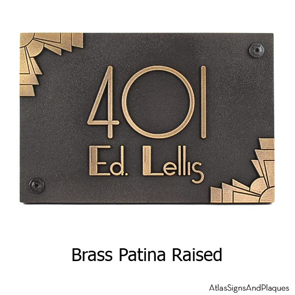 Deco Styling Address Plaque with Corner Options - Brass Shown with Optional T30 Screws