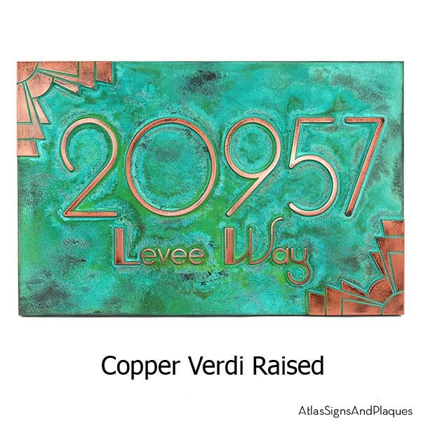 Deco Styling Address Plaque w/Corner Options - Copper Verdi