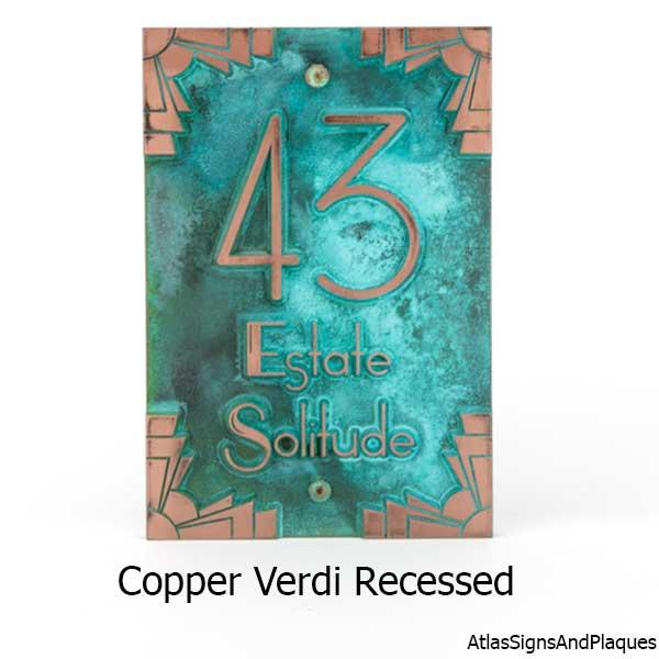 Deco Styling Address Plaque shown in Copper Verdi