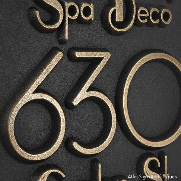 Deco Styling Address Plaque w/Corner Options - Detail