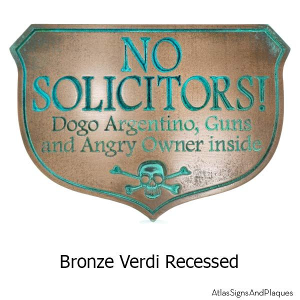 Eating Solicitors Sign Shield - Bronze Verdi