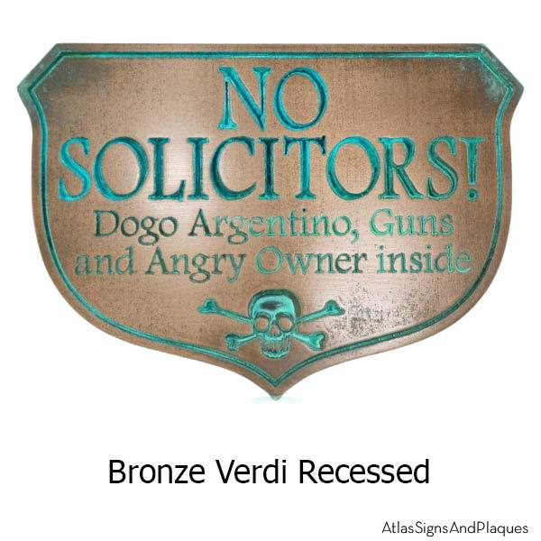 Eating Solicitors Sign Shield - Bronze Verdi