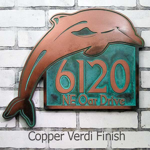 Dolphin Address Plaque - Copper Verdi