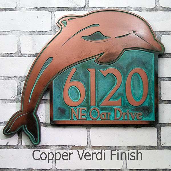 Dolphin Address Plaque - Copper Verdi
