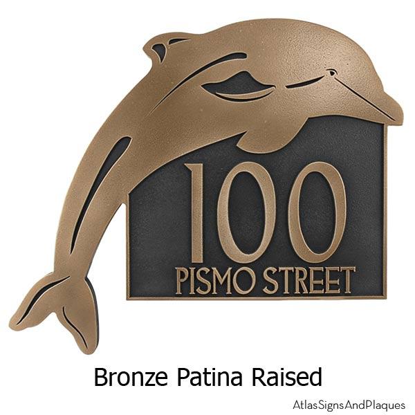Dolphin Address Plaque - Bronze