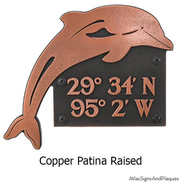 Dolphin Address Plaque - Copper Shown with Optional T30 Screws