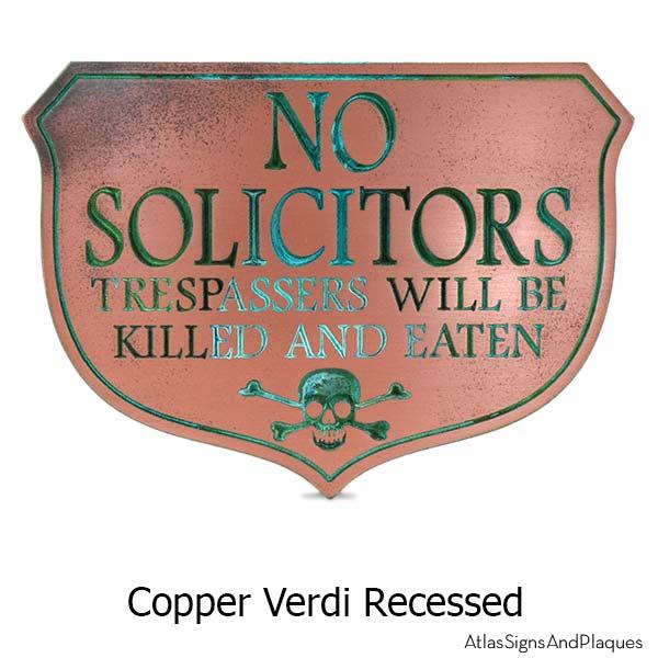 Eating Solicitors Sign Shield - Copper Verdi