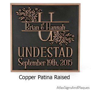 Family Name Wedding Plaque - Copper