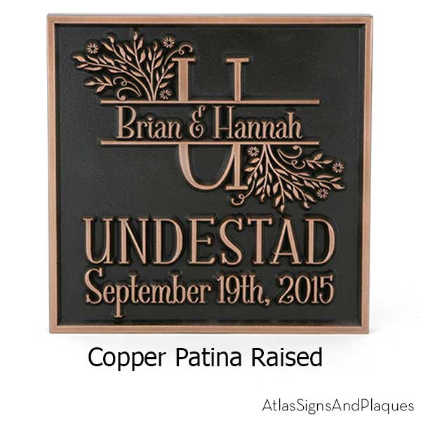 Family Name Wedding Plaque - Copper