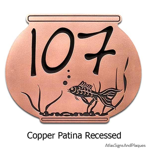 Fish Bowl Address Plaque - Copper