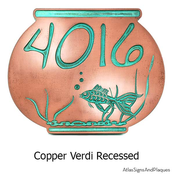 Fish Bowl Address Plaque - Copper Verdi