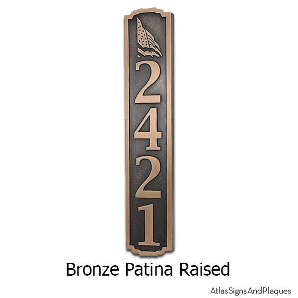 Flag Vertical Address Plaque - Bronze