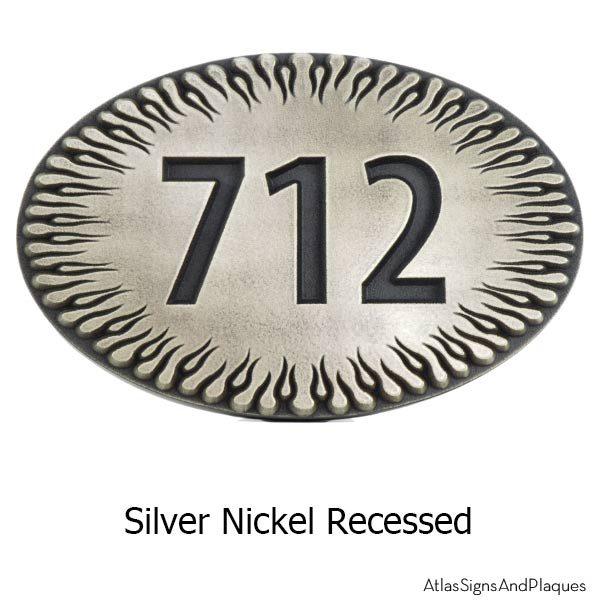 Flames Address Plaque - Silver Nickel
