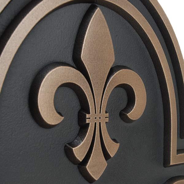 Fleur De Lis Arch Plaque - Bronze Detail