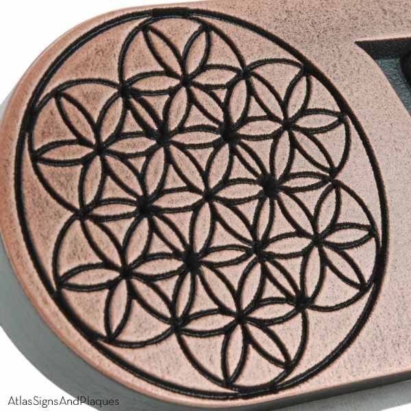 Flower of Life Horizontal Address Plaque - Copper Detail