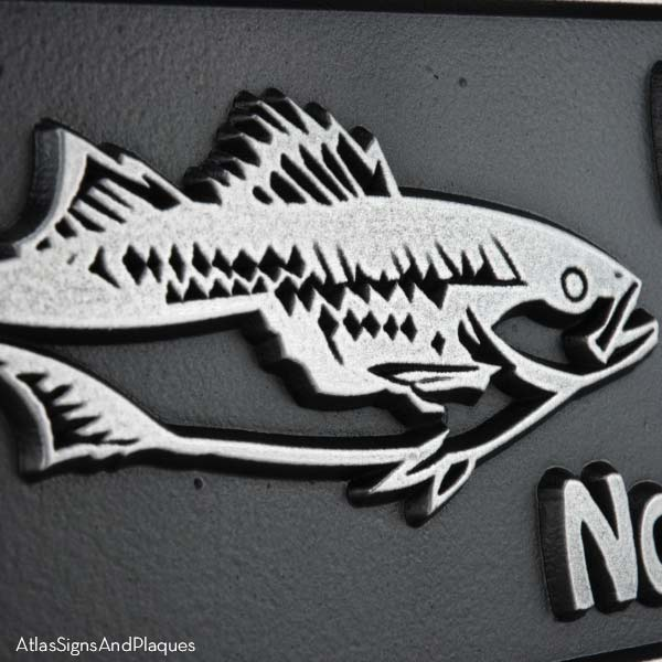 Gone Fishing Plaque - Pewter Detail with Bass