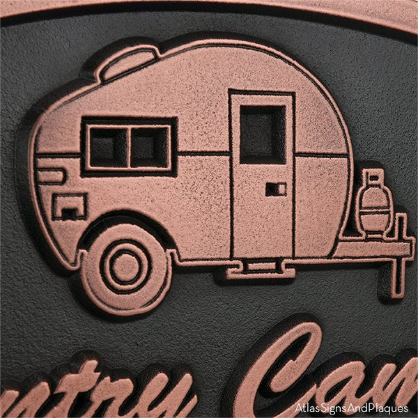 Happy Campers Sign - Copper Detail