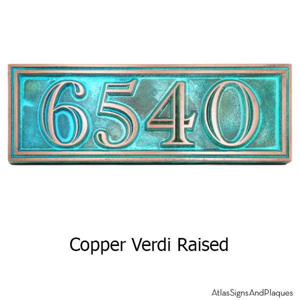 Hesperis Address Plaque - Copper Verdi
