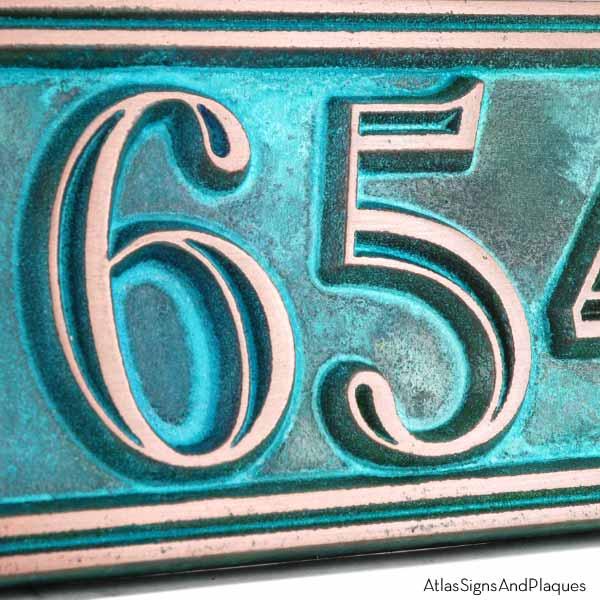 Hesperis Address Plaque - Copper Verdi Detail