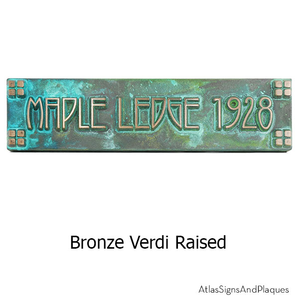 Horizontal American Craftsman Historic Plaque - Bronze Verdi