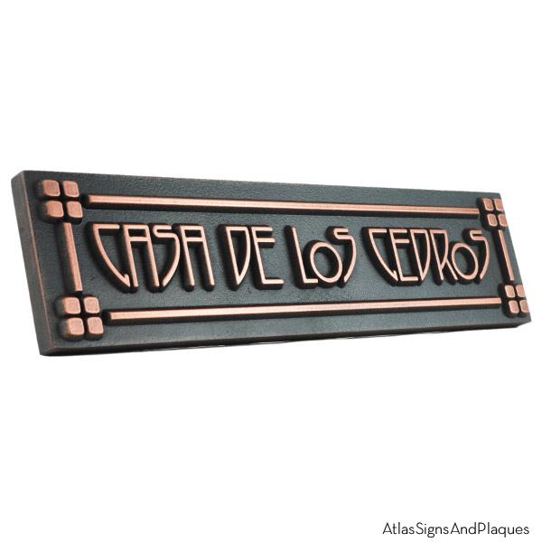 Horizontal American Craftsman Historic Plaque - Copper Detail