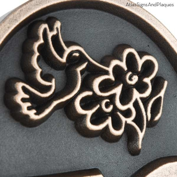 Hummingbird Address Plaque - Bronze Detail