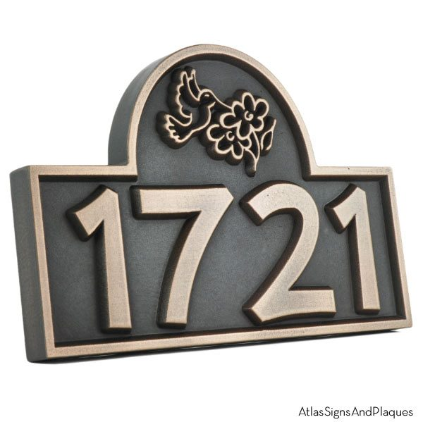 Hummingbird Address Plaque - Bronze