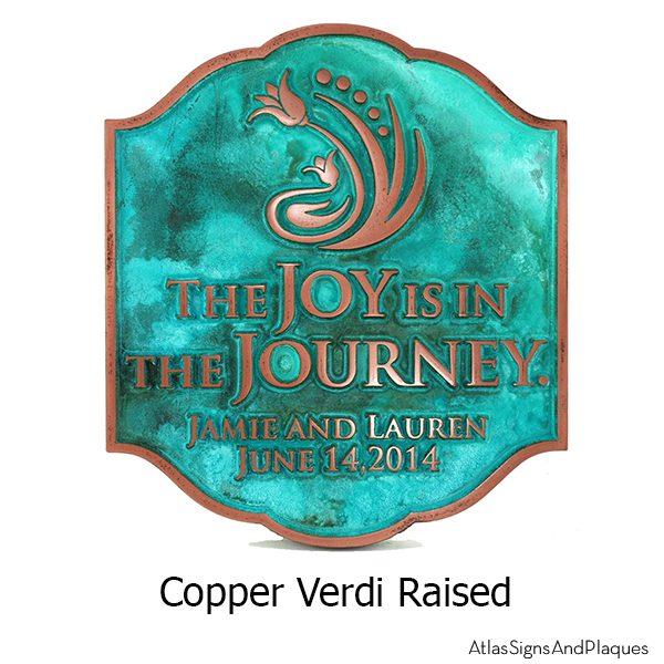 Joy Personalized Wedding Plaque - Copper Verdi