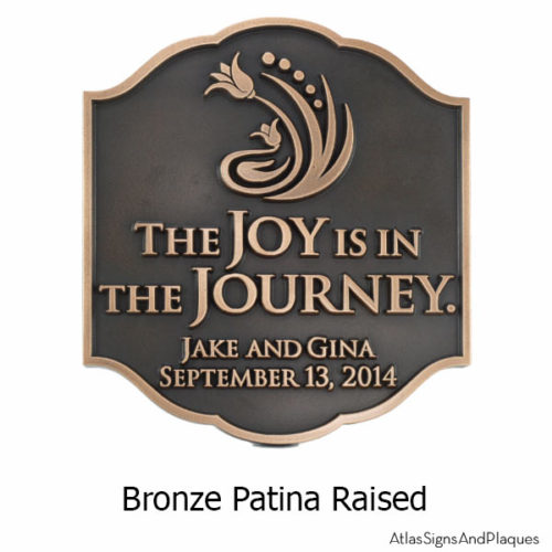 Joy Personalized Wedding Plaque - Bronze