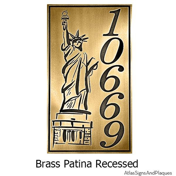 Lady Liberty Address Plaque - Brass