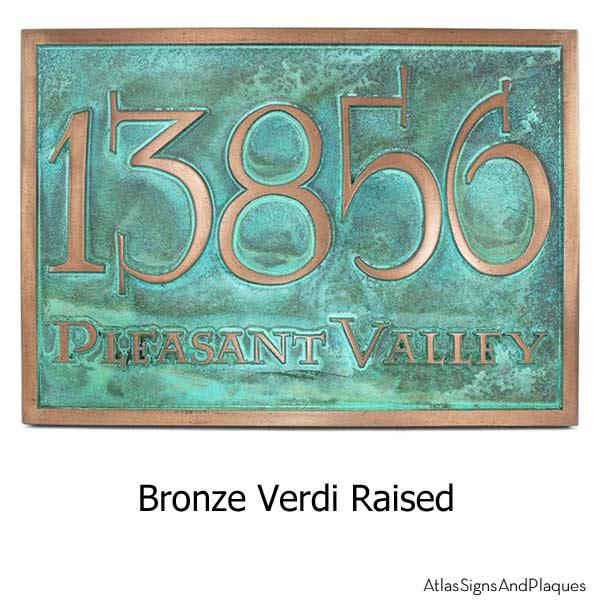 Lumos Address Plaque - Bronze Verdi