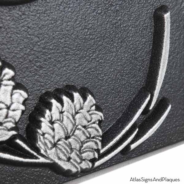 Lumos Vertical Pine Cone Address - Pewter Detail