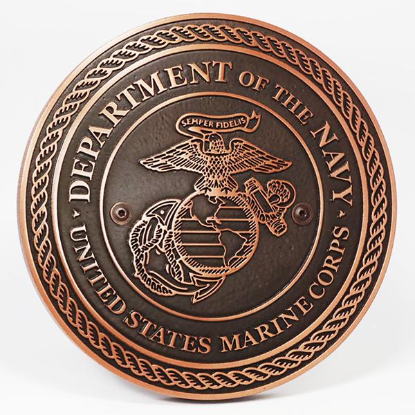 US Marine Corps Plaque - Copper