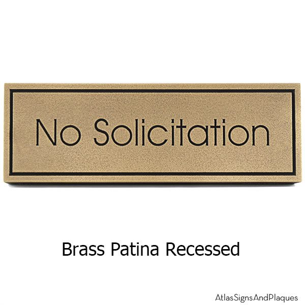 Modern Advantage No Solicitation Sign - Brass