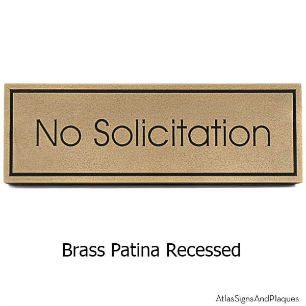Modern Advantage No Solicitation Sign - Brass