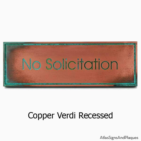 Modern Advantage No Solicitation Sign - Copper Verdi