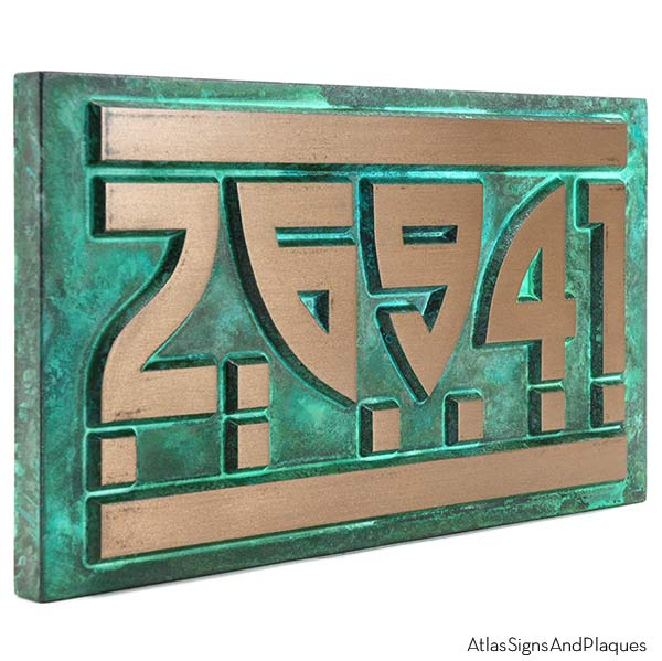 Modern Craftsman Home Numbers - Bronze Verdi
