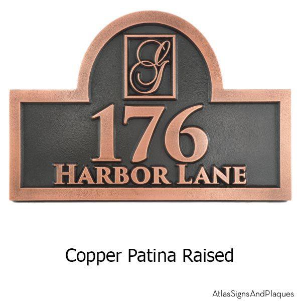 Monogram Address Plaque - Copper