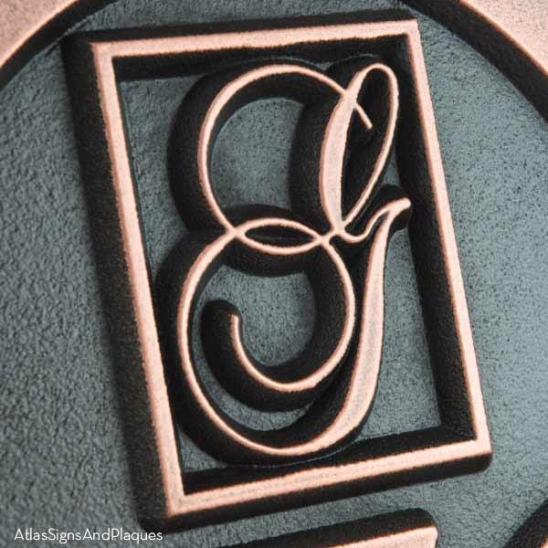 Monogram Arch Address Plaque - Copper Detail
