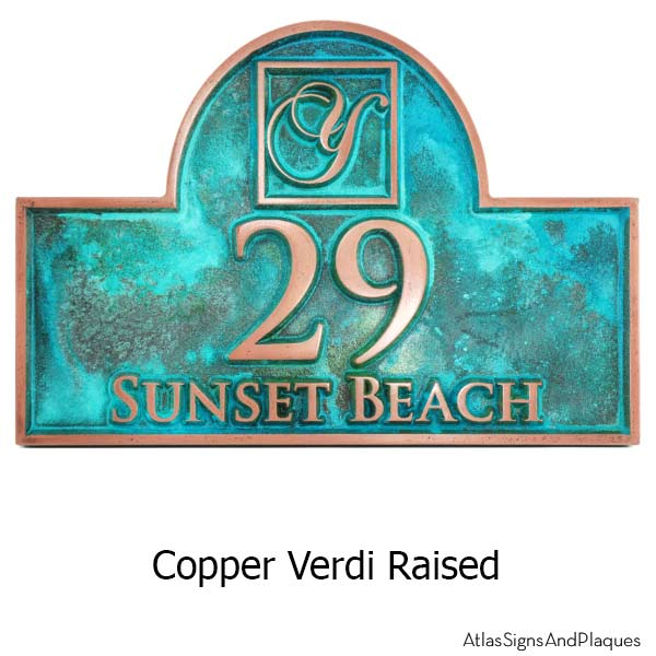 Monogram Arch Address Plaque - Copper Verdi