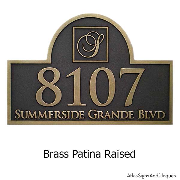 Mogram Arch Address Plaque - Brass