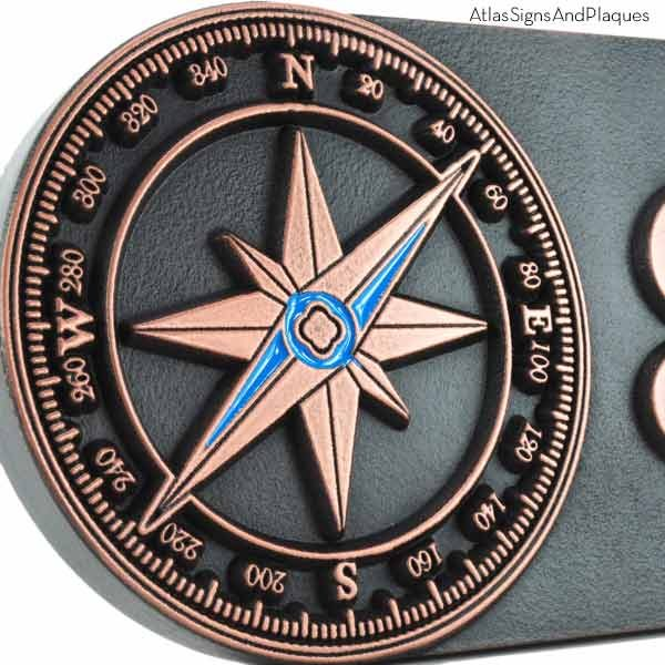Compass Rose Address Plaque - Copper Detail with Paint