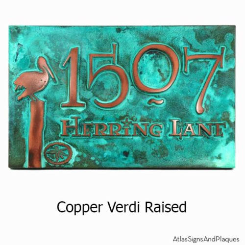 Perched Pelican Address Plaque - Copper Verdi