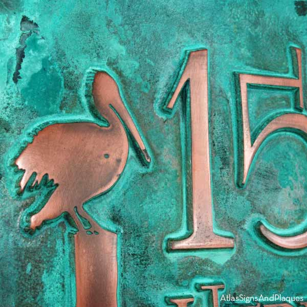Perched Pelican Address Plaque - Copper Verdi Detail