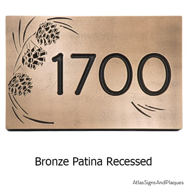 Pine Cone Address Plaque - Recessed Bronze