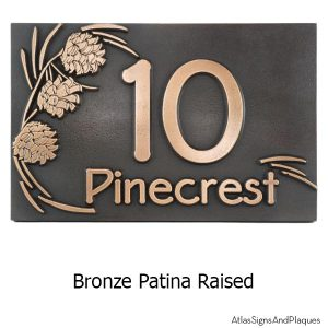 Pine Cone Address Plaque - Bronze